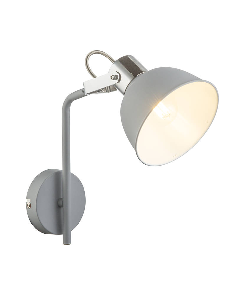 25.5cm wall light in chromed metal and gray finish E14 25W