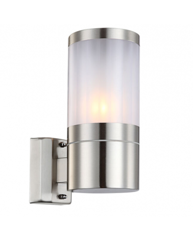 15.5cm cylindrical outdoor wall light finished in steel and white E27 60W IP44