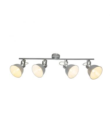 4-spotlight strip 72cm chrome metal gray finish E14 40W