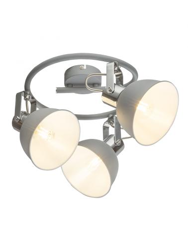 Circular ceiling light 25cm 3 spotlights metal comado gray finish E14 40W