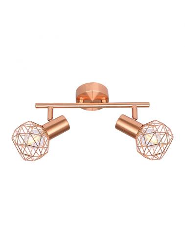 2 spotlight strip 25.5cm copper finish metal E14 40W