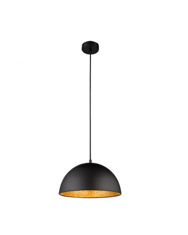 30cm designer ceiling lamp in metal with black finish, interior golden shade E27 60W