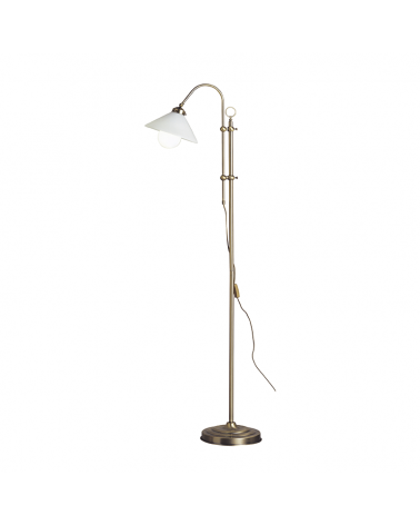172cm floor lamp in glass and metal, brass finish E27 60W