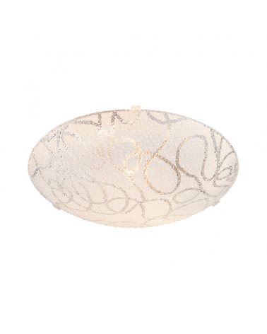 White 25cm ceiling lamp stamped glass E27 60W