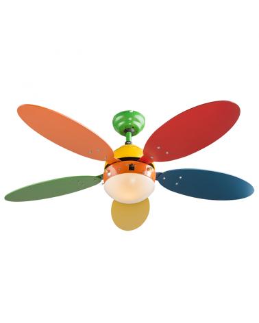 Ventilador de techo infantil multicolor 106.6cm con fuente de luz casquillo E14 50W