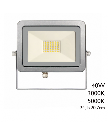 Outdoor projector 24.1cm gray finish 40W IP65 3000K