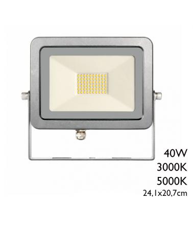 Proyector de exteriores 24,1cm acabado gris 40W IP65 3000K