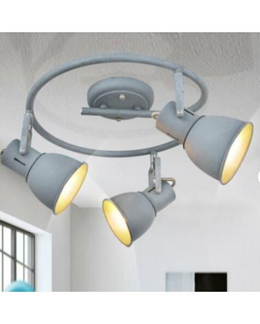 Circular ceiling light 30cm 3 metal spotlights gray finish E14 40W