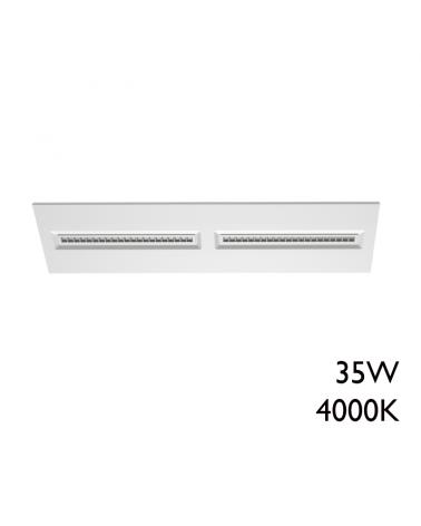 White finish aluminum recessed LED panel 35W 30x120cm + 50,000h