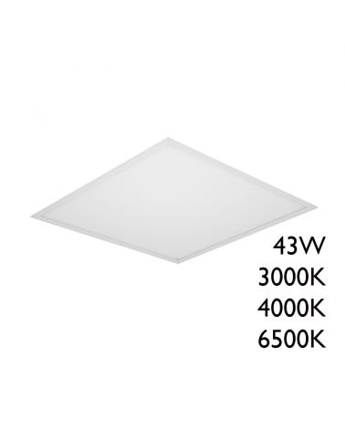 LED recessed steel panel white finish 43W 60x60cm + 25.000h IP40
