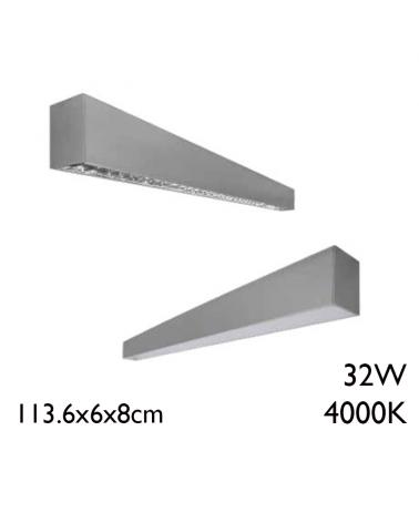 32W aluminum LED ceiling lamp 113.6cm white light 4000K + 50,000h