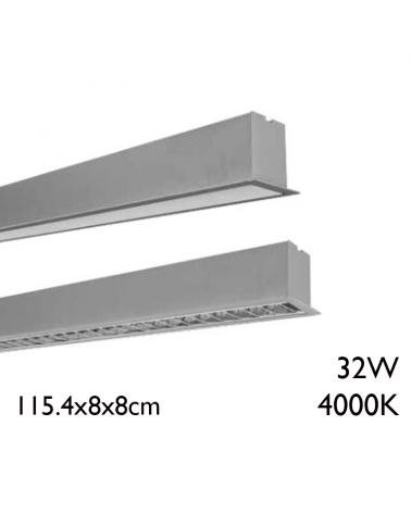 Aluminum recessed LED panel 32W 115,4cm 4000K + 50,000h