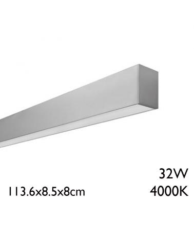 Aluminum surface LED panel 32W 113.6cm 4000K + 50,000h