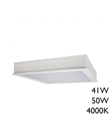 LED recessed steel panel with white finish 60x60cm + 50,000h IP65