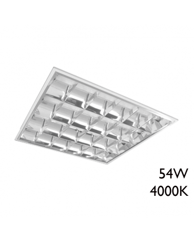 LED recessed steel panel with white finish and aluminum reflector 54W 60x60cm + 50,000h IP65