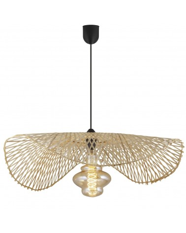 Lámpara de techo 75cm de ratán ondulada 60W E27