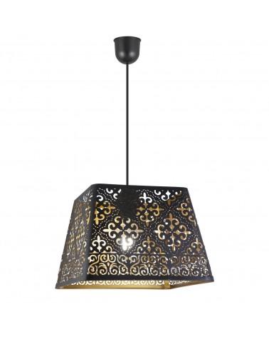 Lámpara trapecio 33cm acabado negro dorado huecos flores 60W E27