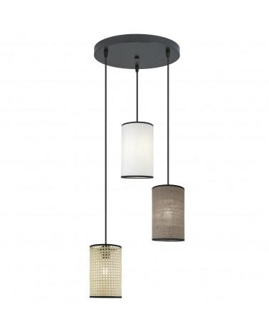 Lámpara 3 colgantes 60cm roseta circular pantallas cilindro tela 15cm elegante 60W E27