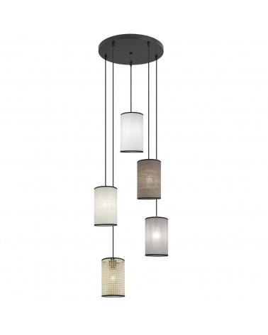Lámpara 5 colgantes 60cm roseta circular pantallas cilindro tela 15cm elegante 60W E27