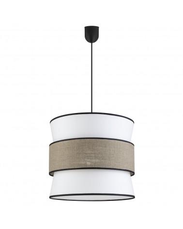 Lámpara de techo colgante pantalla 40cm estilo oriental cona acabado beige,  visón y negro  60W E27