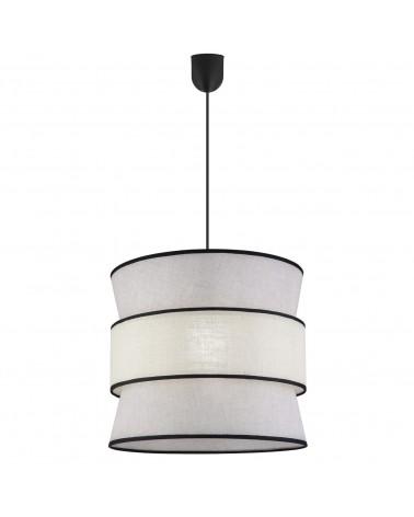 Lámpara de techo colgante pantalla 40cm estilo oriental cona acabado blanco, tostado y negro  60W E27