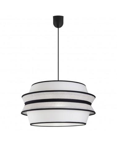 Lámpara de techo colgante pantalla 40x30cm estilo oriental cona acabado beige, blanco y negro 60W E27