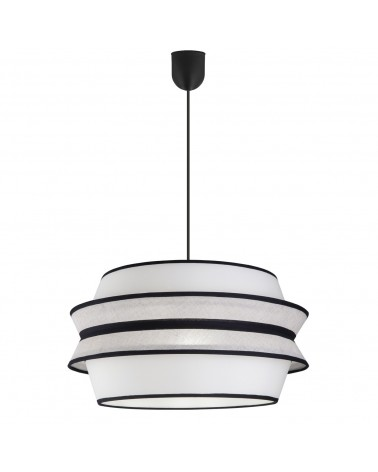 Pendant ceiling lamp lampshade 40x30cm oriental style  beige, white and black finish 60W E27
