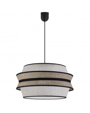 Lámpara de techo colgante pantalla 40x30cm estilo oriental cona acabado visón, tostado y negro 60W E27