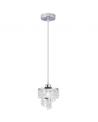 Chrome ceiling lamp with spiral crystal tears 60W E14