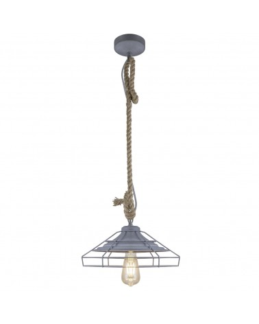 Industrial style ceiling lamp with gray metal lampshade and 60W E27 rope pendant