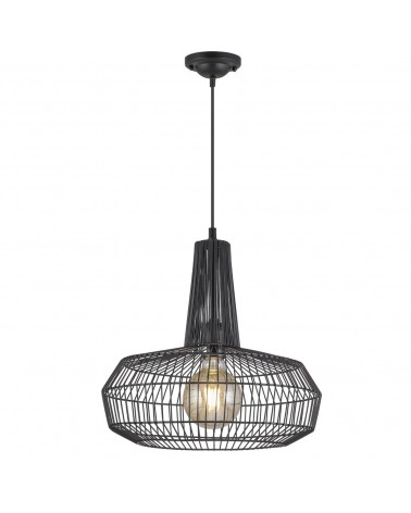 Nordic style ceiling lamp black metal cage lampshade 60W E27