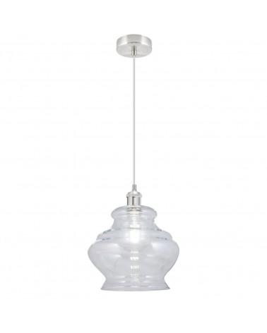 Lámpara de techo 30cm pantalla cristal roseta niquel satinado 60W E27
