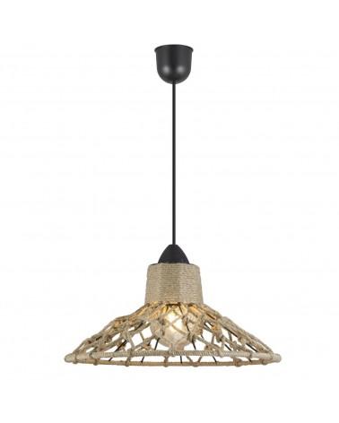 Lámpara de techo rústica pantalla cuerda entrelazada 60W E27