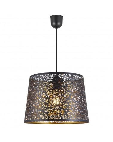 Lámpara de techo 35cm pantalla redonda negra interior dorado huecos curvos 60W E27