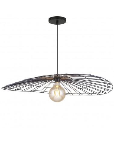 Lámpara de techo 80cm de pantalla metal negro 60W E27