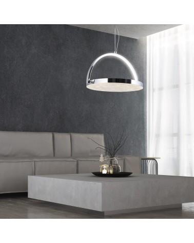 Lámpara colgante redonda 40cm 360º oscilante acabado en cromo y nacar 35W LED 350Lm 4000K