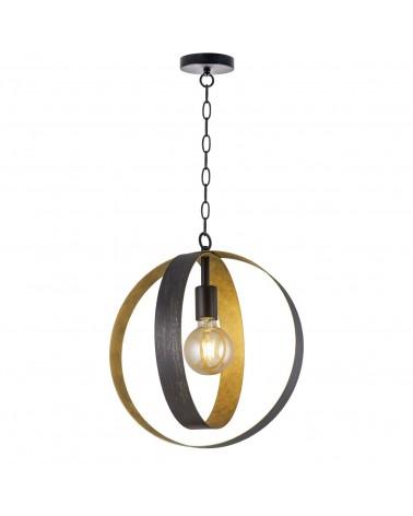 Lámpara de techo doble negro y dorado esfera pendel de cadena 37cm 60W E27