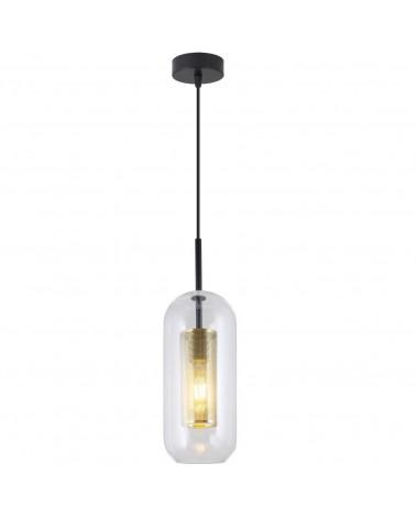 Lámpara de techo 12cm cristal portalámparas dorado roseta y cable negro 60W E27