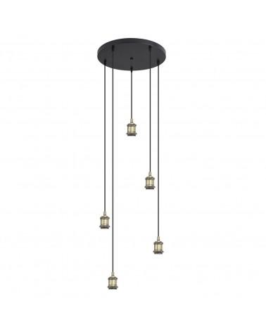 Lámpara 5 pendels portalamparas dorado envejecido roseta circular 40cm 300W E27