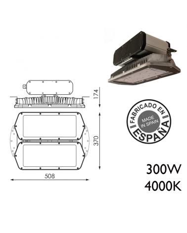 Industrial hood 300W IP66 very high luminosity 240 leds 4000K + 100,000h
