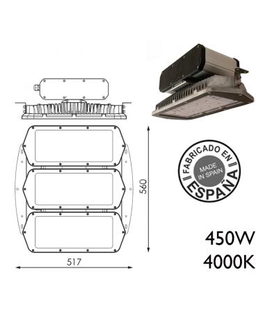 Industrial hood 450W IP66 very high luminosity 360 leds 4000K + 100,000h