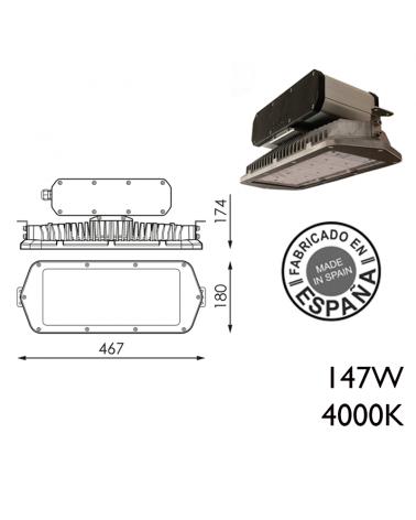 Industrial hood 147W IP66 very high luminosity 48 leds 4000K + 200,000h