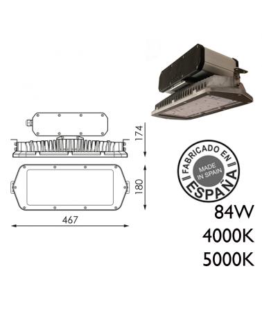 Industrial hood 84W IP66 very high luminosity + 100,000h