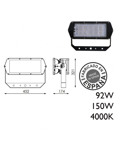 Industrial outdoor projector 120 leds IP66 4000K + 100,000h
