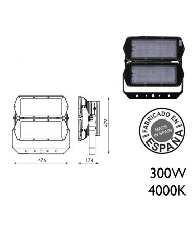 Proyector de exteriores industrial 300W 240 leds IP66 4000K +100.000h