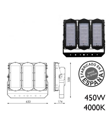 Proyector de exteriores industrial 450W 360 leds IP66 4000K +100.000h