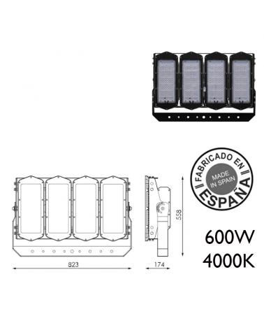 Proyector de exteriores industrial 600W 480 leds IP66 4000K +100.000h