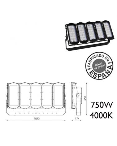 Proyector de exteriores industrial 750W 600 leds IP66 4000K +100.000h