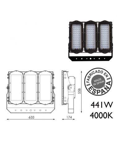 Proyector de exteriores industrial 441W 144 leds IP66 4000K +200.000h