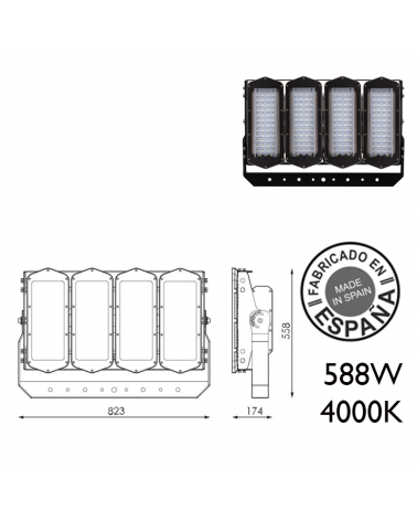 Proyector de exteriores industrial 588W 192 leds IP66 4000K +200.000h